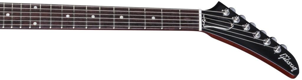 El Mástil y clavijero en ángulo de una guitarra Gibson Explorer