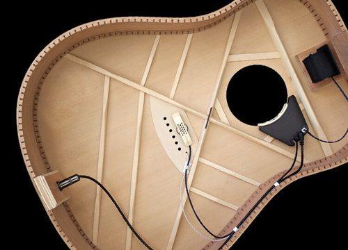 Pastilla de una guitarra electro-acústica vista desde el interior de la caja de resonancia.
